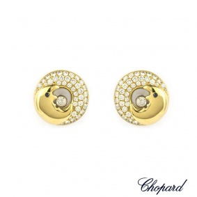 Chopard 18k Yellow Gold Happy Diamonds Moon Earrings